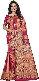 Bridal Red Wedding Banarsi Print Saree Indian/Pakistani Traditional Bollywood Ethnic Golden Border Sari with Unstitch Blouse
