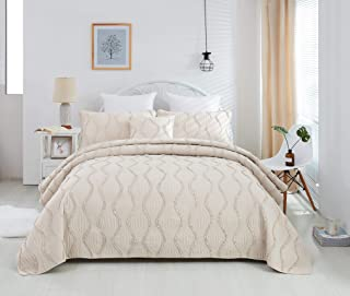 DaDa Bedding Bohemian Hourglass Bedspread - Medium Ivory Ruffles Elegant Quilted Coverlet Set - Cal King - 3-Pieces