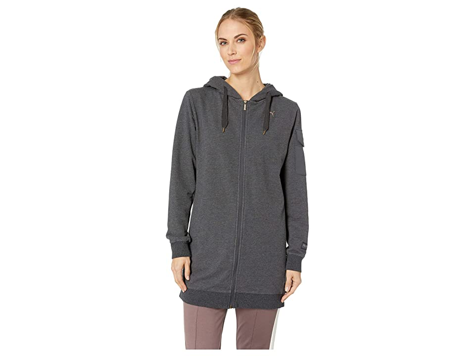 PUMA Fusion Elongated Hooded Bomber Top (Dark Grey Heather) Women