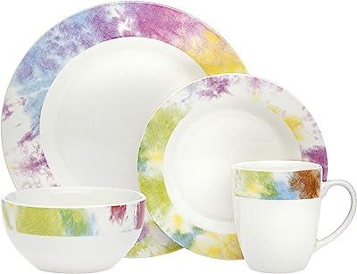Dinnerware Set Tie Dye Edge Dinner Plate, Salad Plate, Soup Bowl, and Mug- Bone China - 16 Piece set