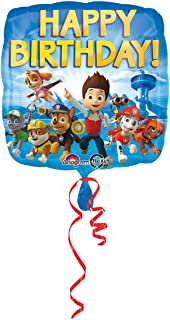 Amscan International Standard Square Paw Patrol Happy Birthday Balloon, Multi Color, 17 inches, 10022913