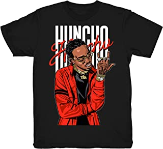 Habanero Red Quavo Huncho Shirt to Match Foamposite One Habanero Red Sneakers Black t-Shirts
