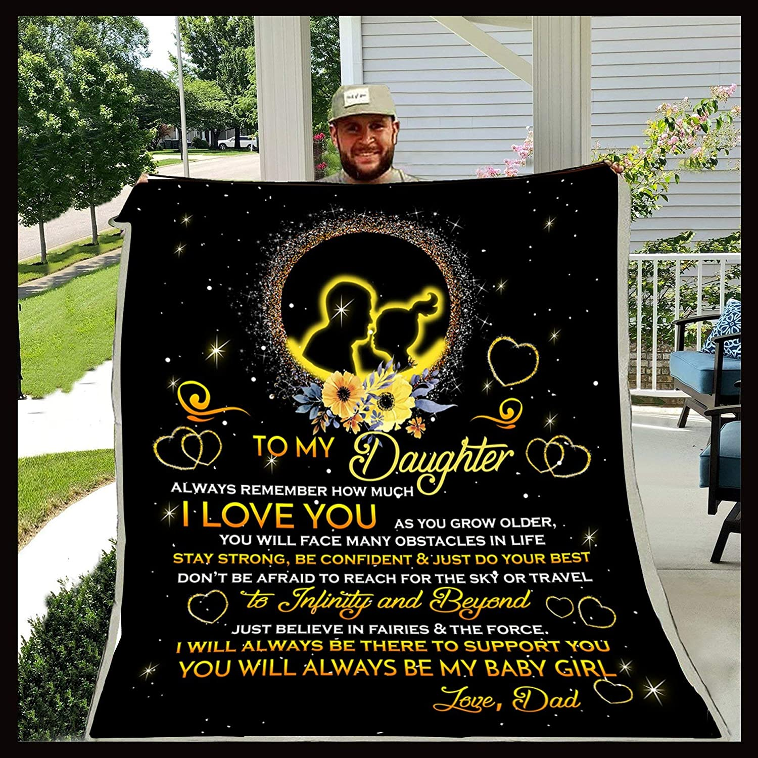 Fleece Blanket From mom to my daughter don't be afraid to reach Quilt Blanket