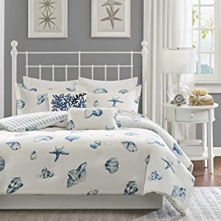Harbor House Beach House Duvet Cover Full/Queen Size - Blue, Ivory , Seashells Duvet Cover Set – 3 Piece – 100% Cotton Light Weight Bed Comforter Covers