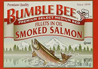 BUMBLE BEE Smoked Salmon Fillets In Oil, High Protein Food, Keto Food and Snacks, Gluten Free Food, High Protein Snacks, Canned Food, Bulk Canned Salmon, 3.75 Ounce Cans (Pack of 12)