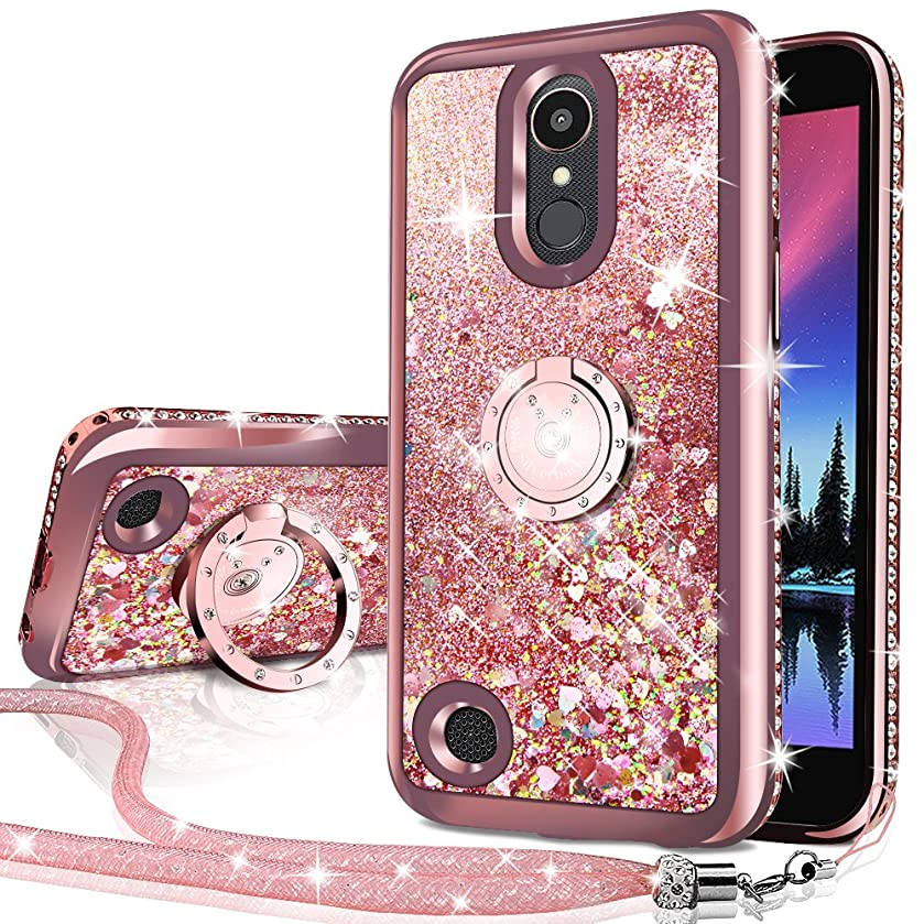 LG Aristo Case, Risio 2 Case, Phoenix 3 Case, Fortune/Rebel 2 LTE/K8 2017 Case, Silverback Girls Women Moving Liquid Holographic Glitter Case with Kickstand, Bling Diamond Rhinestone Bumper for LV3