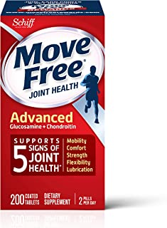 Glucosamine & Chondroitin Advanced Joint Health Supplement Tablets, Move Free (200 count in a bottle), Supports Mobility, ...