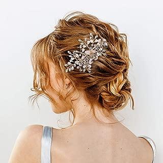 AW Wedding Hair Comb Rhinestone Bridal Hair Clips Crystal Butterfly Head Piece Bridal Hair Accessories for Bride Bridesmaid, Rose Gold