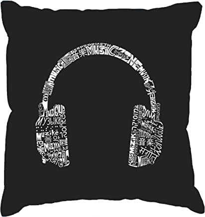 b6686e9e8d6964 Word Art Throw Pillow Cover - Headphones - Languages Black