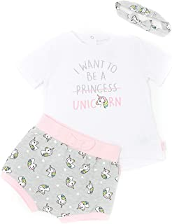 Mini Heroes - Baby Girls' 3-Piece Unicorn T-Shirt, Short & Headband Set