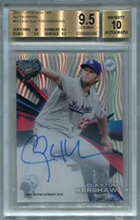 Clayton Kershaw Los Angeles Dodgers BGS Certified Authentic Autograph - 2015 Topps High Tek (Autographed Baseball Cards)