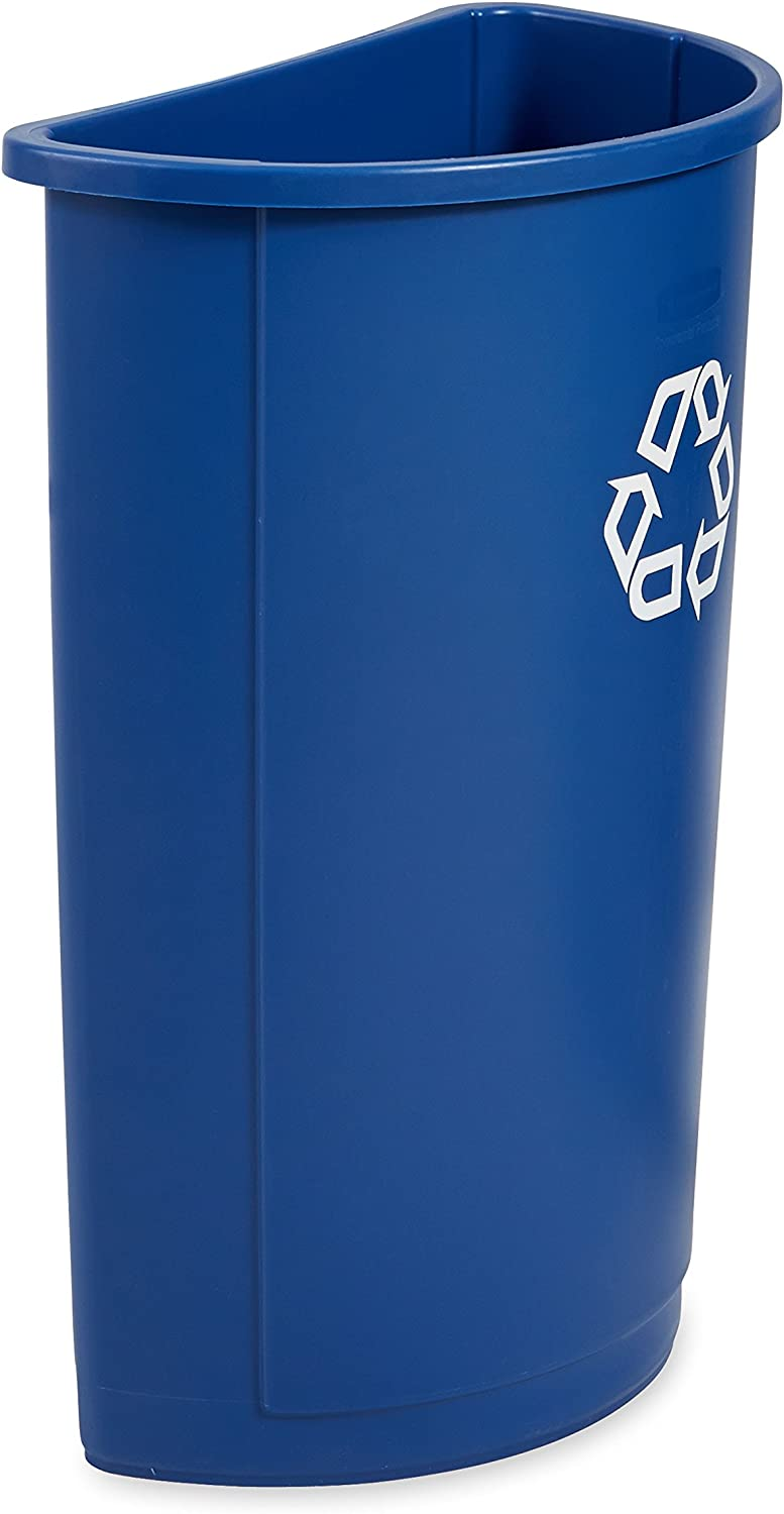 Rubbermaid Commercial Half Round Recycle Bin, 21-Gallon, bluee