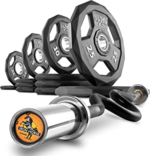 XMark Olympic Bar Curl Bar with Weights Offer, Olympic Weights Pair or Set of BLACK DIAMOND Olympic Weight Plates, Premium Quality, Rubber Coated with Super EZ Curl Bar, Black Manganese 25mm IRONHORSE