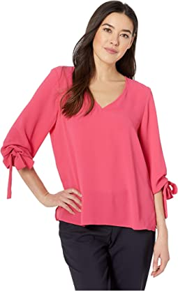 3/4 Sleeve V-Neck Blouse w/ Sleeve Ties