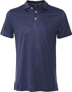 Hackett Men's Slim Fit Striped Linen Trim Polo Shirt Navy