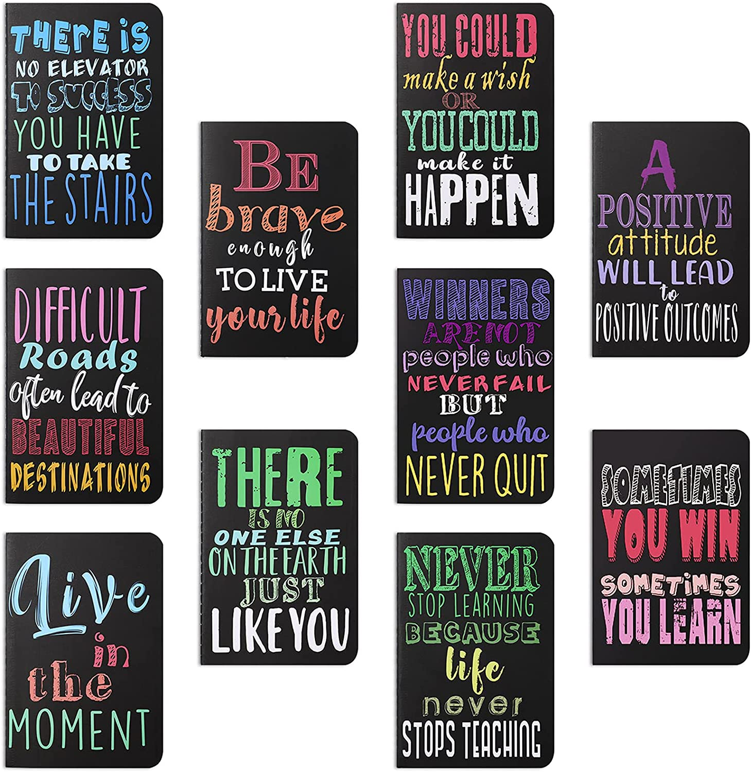 Inspirational Notepads Mini Motivational Journal Notebook Small Pocket Notepads for School Office Home Travel Gift Supplies, 10 Styles (Bright Colors,10 Pieces)