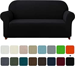 Subrtex 1-Piece Plaid Jacquard Stretch Couch Slipcovers, Sofa, Black