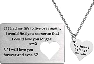 FUSTMW Couple Matching Gifts Necklace Engraved Wallet Inserts Wedding for Men Couples Jewelry for Boyfriend Girlfriend Bir...