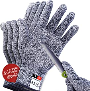 4 PCS (M+L) Cut Resistant Gloves Level 5 Protection for Kitchen, Upgrade Safety Anti..