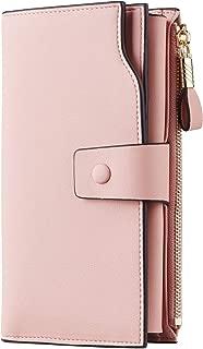 Womens RFID Blocking Large Capacity Luxury Waxed Genuine Leather Clutch Wallet Multi Card Organizer