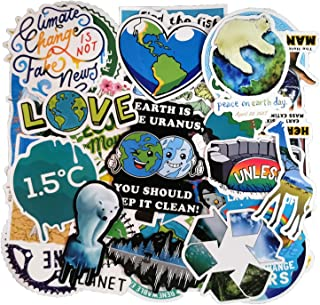50pcs Environmental Protection Slogan Sticker Pack for Water Bottle, Laptop, Luggage, Bike, Skateboard, Focus on Global Warming, Climate Change, Marine Life, Water Conservation and Save The Plants