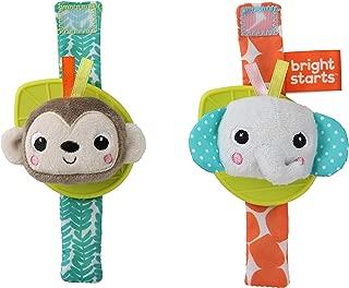 Bright Starts Rattle & Teethe Wrist Pals Toy - Monkey & Elephant, Newborn +