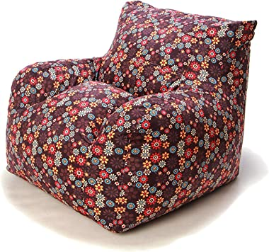Wow! Works Cool Bean Bag Chair Upholstered Beanbag Lounger Armchair w/Side Pocket, Medium-Sized, Floral Expressions (Brown/Mu