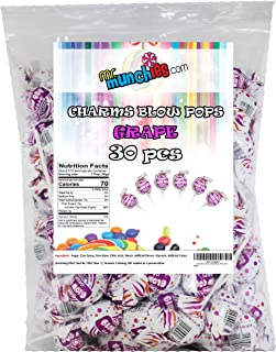 Charm Blow Pops, Grape Pops, Pack of 30
