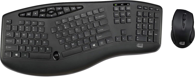 Adesso Truform Media 1600 (WKB-1600CB) 2.4GHz RF Wireless Ergonomic Keyboard and Optical Mouse , Multi-Media Keys and Adjustable DPI Mouse 5 Million Keystrokes Black