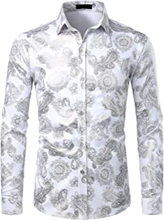 Mens Hipster Gold Rose Printed Slim Fit Long Sleeve Dress Shirts/Prom Performing Shirts