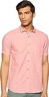 CHEROKEE Men's Solid Regular fit Casual Shirt (400020220387_Coral S)