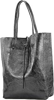 modamoda de T163 - Ital. Shopper Large mit Innentasche aus Leder