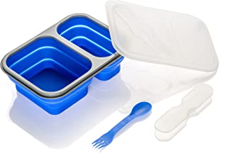 SE STW236-BL Dual Compartment Collapsible Silicone Food Container with Double-Ended Utensil