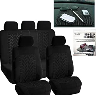 FH Group FH-FB071115 Complete Set Travel Master Seat Covers Solid Black, Airbag Ready & Rear Split FH1002 Non-Slip Dash Grip Pad- Fit Most Car, Truck, SUV, or Van
