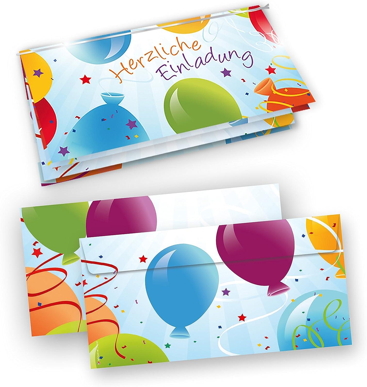 TATMOTIVE Einladungskarten Kindergeburtstag lustig mit Luftballons  Umschläge, 25 Sets - blau B00CP48Z38     Produktqualität