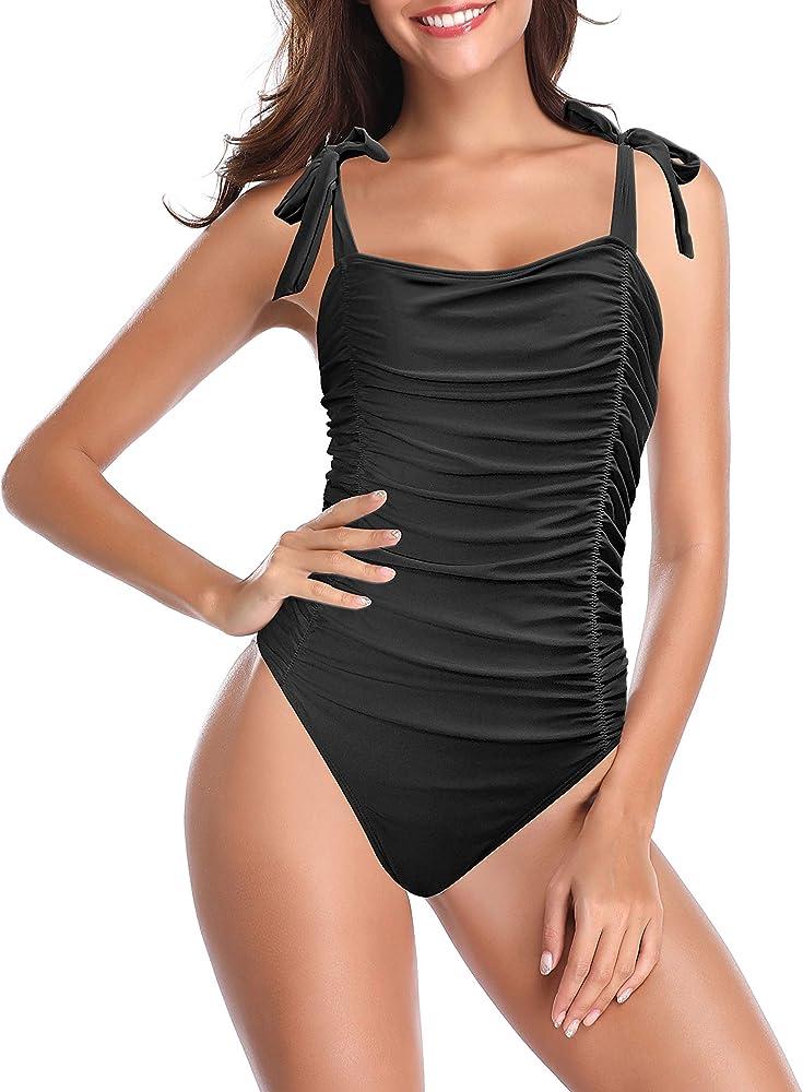 Shekini, elegante costume da bagno intero per donna, 82% nylon, 18% spandex, nero1 1153A