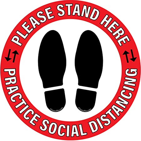 10 pc 12in Social Distancing Floor Sign Decal Sticker Waterproof Removable New