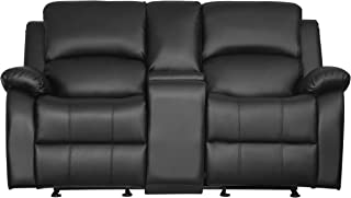 dual glider reclining loveseat with console