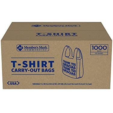 An Item of Member's Mark Black T-Shirt Carryout Bags (1,000 ct.) - Pack of 1 - Bulk Disc
