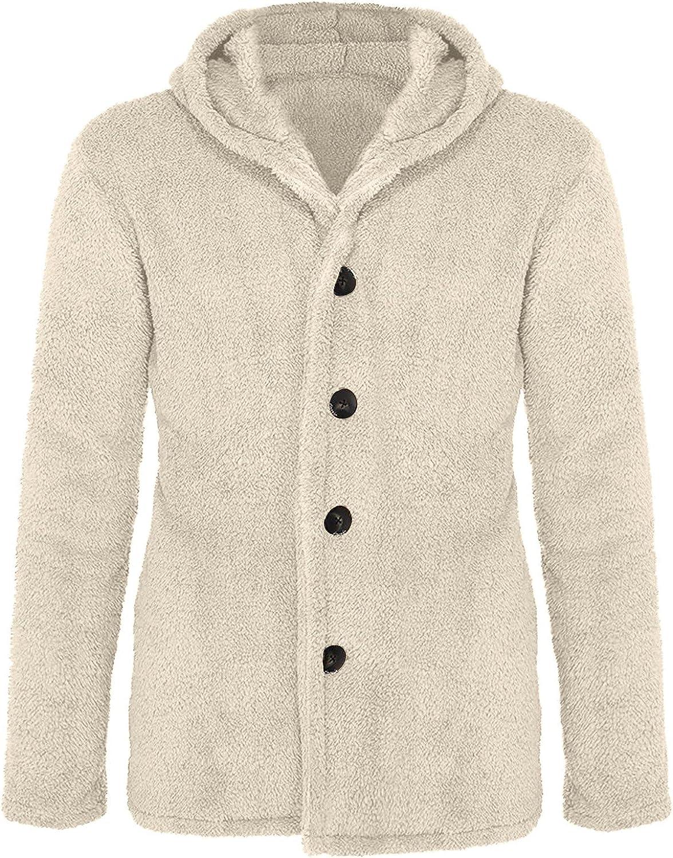 Mens Lightweight Plush Cardigan Autumn Winter Fleece Coat Furry Sweater Loose Casual Hooded Outwear Solid Jacket
