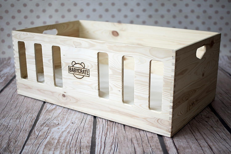 BabyCrate Sicherheits-Babybett - für Natürlich Sicheren Schlaf - Babybett aus Massivholz, hergestellt in der EU - gesundes Bettchen und spter coole Spielzeugkiste