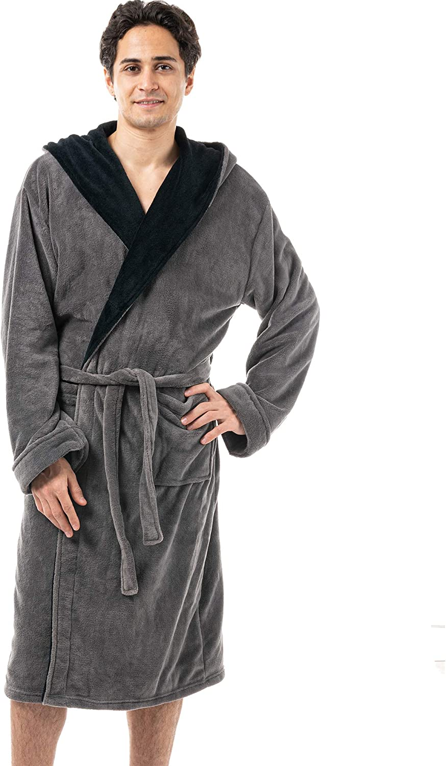 Men's Soft Warm Fleece Plush Robe and Hood High quality shopping Lengt with Knee Full