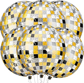 Large, 22 Inch Gold Black and Silver Disco Balloons - Disco Theme Birthday Decorations | Metallic 4D Sphere Foil Disco Bal...