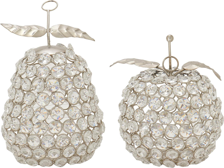 Benzara 37015 Attractive Metal Bead Apple Pear, Set of 2, 5Inch Width X 7Inch Height