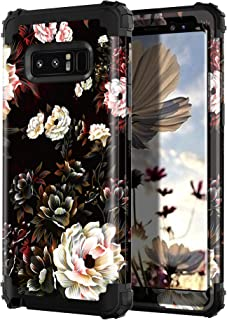 Lontect Compatible Galaxy Note 8 Case Floral 3 in 1 Heavy Duty Hybrid Sturdy Armor High Impact Shockproof Protective Cover Case for Samsung Galaxy Note 8, Black/White Flower