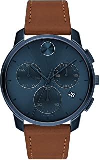 Sponsored Ad - Movado Men's Stainless Steel Swiss Quartz Watch with Leather Strap, Cognac, 21 (Model: 3600630)