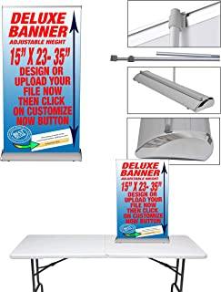 "JLC Medium Table Top Telescopic (Adjustable Height) 15"" x 23-35"" Retractable Roll Up Banner Stand Including Custom Print, Trade Show Display, Exhibitions & Promotions"