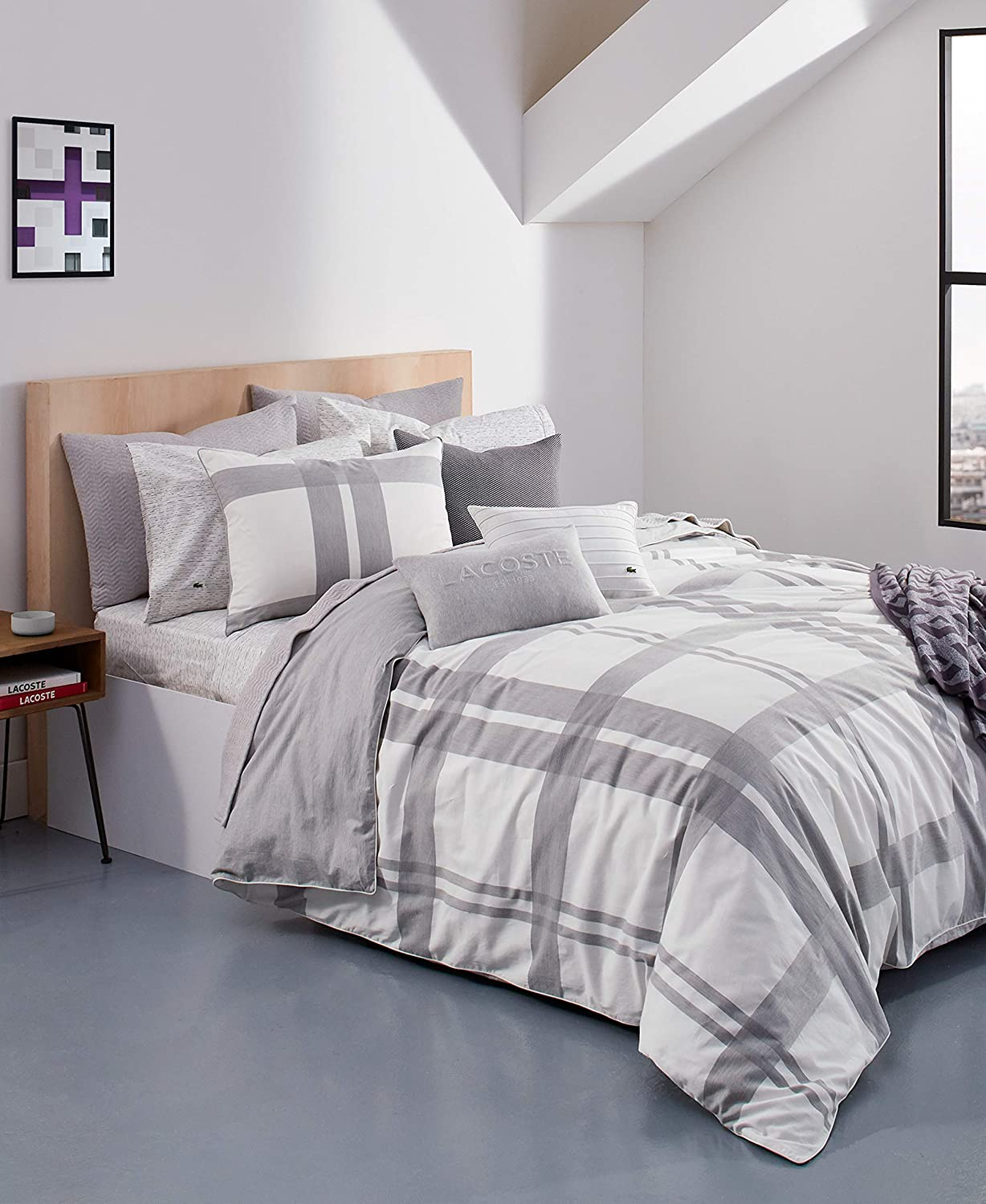 Lacoste Baseline Comforter Set Full Micro White Chip Queen Max Easy-to-use 72% OFF