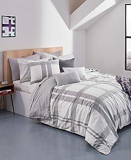 Lacoste Baseline Comforter Set, King, Micro Chip/White