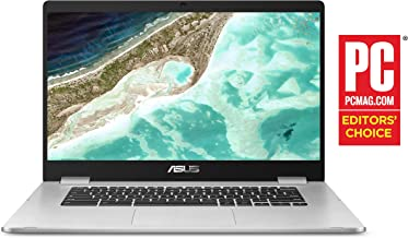 "Asus Chromebook C523NA-DH02 15.6"" HD NanoEdge Display, 180 Degree, Intel Dual Core Celeron Processor, 4GB RAM, 32GB eMMC Storage, Silver Color"